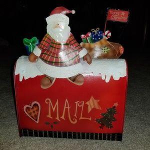 Christmas Santa Claus metal mailbox